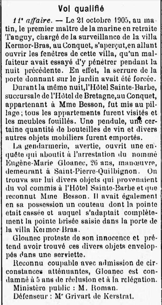 Gloanec Eugène Marie evade evasion brest saint pierre quilbignon bagne guyane bagnard larzin