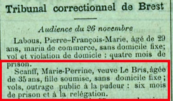 Scanff Marie Perrine saint thegonnec finistere bagne guyane