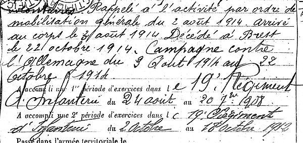 durieux louis brest 14-18 Finistère Non Mort France Réformé maladie tuberculose suicide fusillé accident