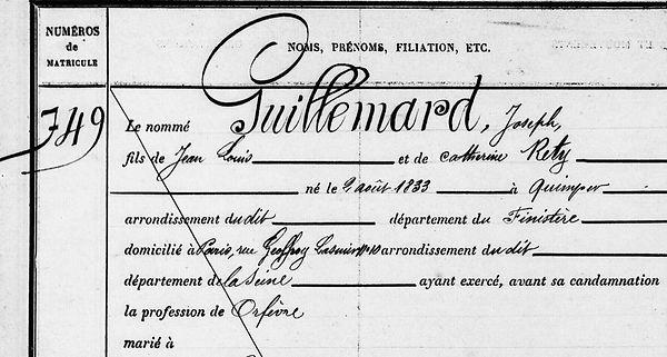 Guillemard Joseph communard commune paris quimper bagne nouvelle caledonie