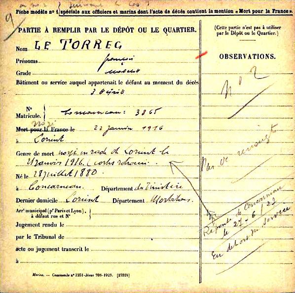 le torreg concarneau lorient 14-18 Finistère Non Mort France Réformé maladie tuberculose suicide fusillé accident