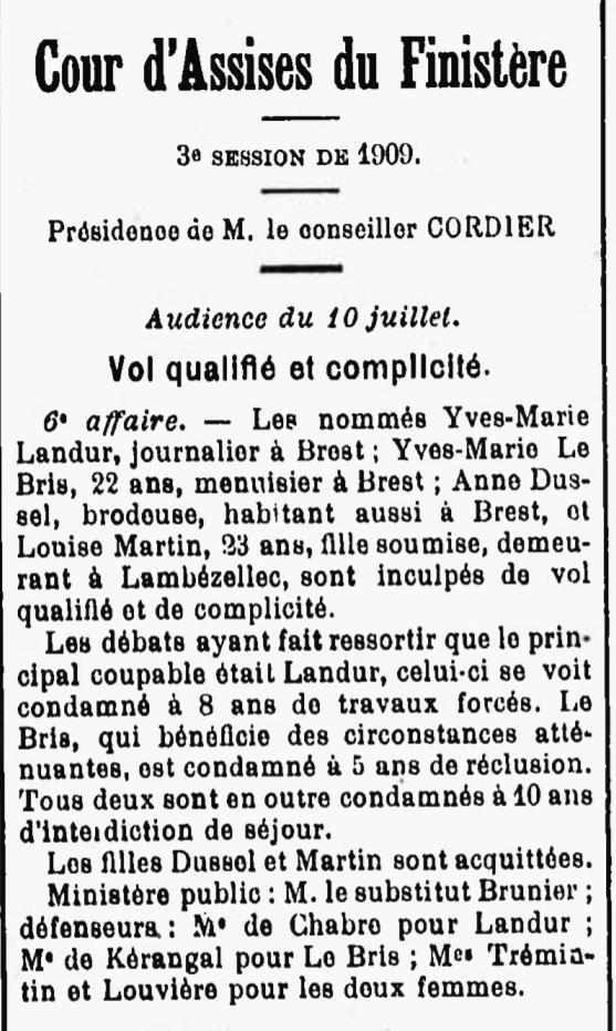 Landur Yves Marie lambezellec brest queau bagne guyane bagnard finistere evade evasion