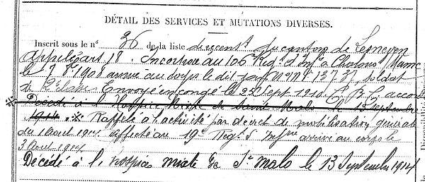 thomin michel saint meen malo 14-18 Finistère Non Mort France Réformé maladie tuberculose suicide fusillé accident