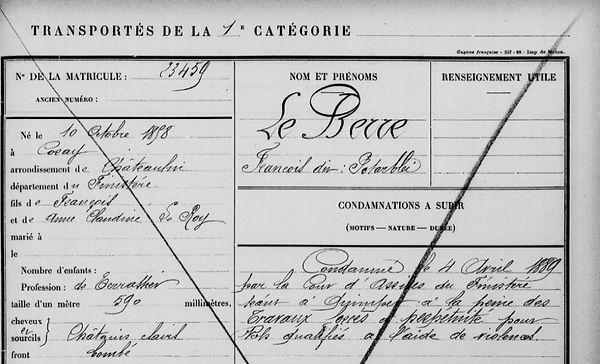 Le Berre François coray helliant bagne guyane bagnard finistere