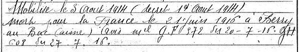Jaffe François Louis Marie Plounevezet Guerre 1914 1918 14-18 Finistère Finistérien Mort pour la France Berry au Bac cote 108 Sapigneul Choléra Moscou Mauchamp