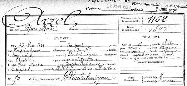 Arzel Yves Marie Lampaul ploudalmezeau patrick milan anne appriou guerre 1914 1917 14 18 patrimoine histoire plouguin finistere