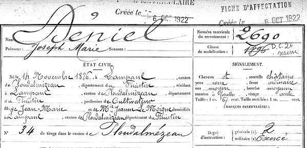 Déniel joseph François Marie deniel Lampaul ploudalmezeau patrick milan anne appriou guerre 1914 1917 14 18 patrimoine histoire plouguin finistere