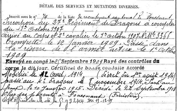 guyader etienne rene marie fouesnant dragon 14-18 Finistère Non Mort France Réformé maladie tuberculose suicide fusillé accident