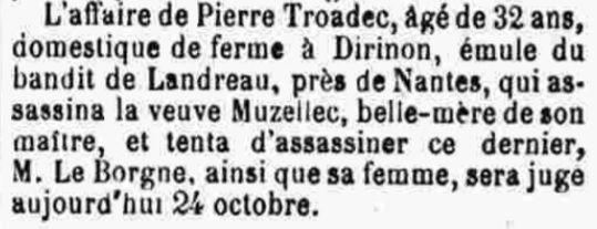 Troadec Pierre Hervé Marie muzellec le borgne dirinon bagne guyane bagnard finistere rime