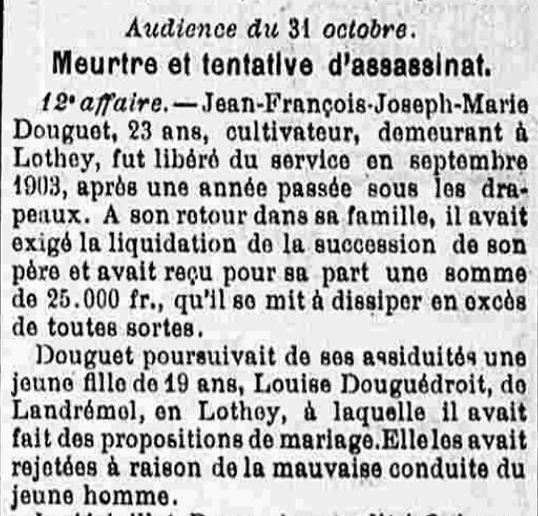 Douguet Jean François Joseph lothey bouzard bagne finistere guyane bagnard