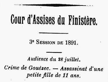 Gouezec assassinat cour assises Yvinec a