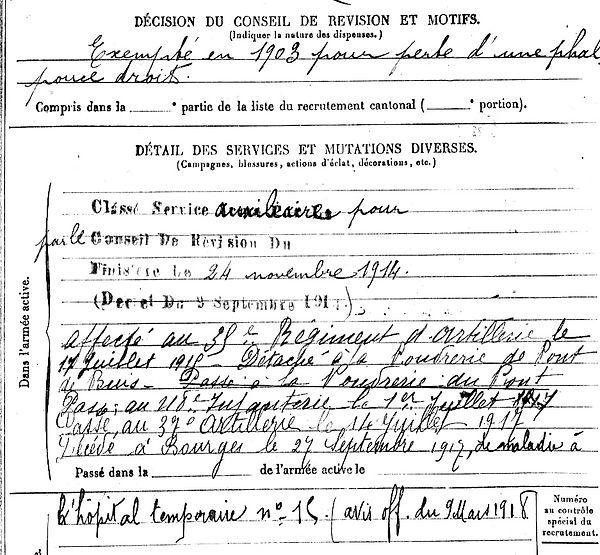 jeannes alain elliant bourges 14-18 Finistère Non Mort France Réformé maladie tuberculose suicide fusillé accident