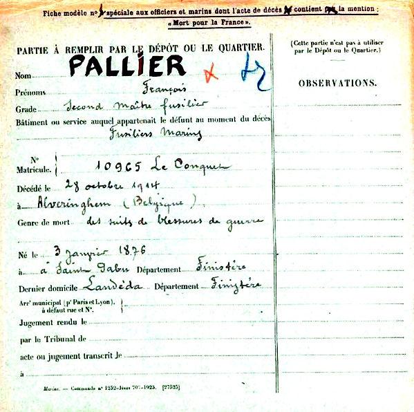 pallier françois saint pabu fusilier marin alveringem alveringhem landeda 14-18 Finistère Non Mort France Réformé maladie tuberculose suicide fusillé accident
