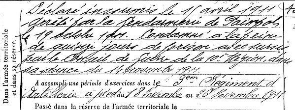 querne jean marie ploujean cherbourg paril ivry deserteur paimpol gendarmerie14-18 Finistère Non Mort France Réformé maladie tuberculose suicide fusillé accident