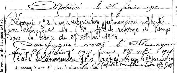 quemener jean louis huelgoat vannes morbihan 14-18 Finistère Non Mort France Réformé maladie tuberculose suicide fusillé accident