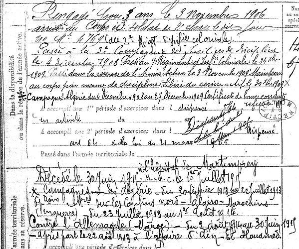 Martin François Marie bret legion etrangere algerie maroc martimprey 14-18 Finistère Non Mort France Réformé maladie tuberculose suicide fusillé accident