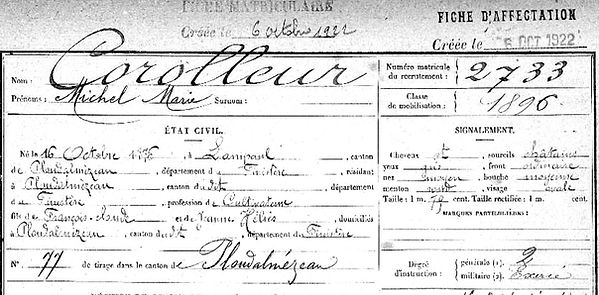 Corolleur Michel Marie Lampaul ploudalmezeau patrick milan anne apprioual guerre 1914 1917 14 18 patrimoine histoire plouguin finistere saint pabu