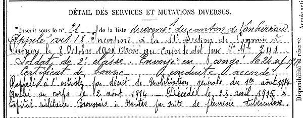 couloigner jean louis marie landivisiau nantes 14-18 Finistère Non Mort France Réformé maladie tuberculose suicide fusillé accident