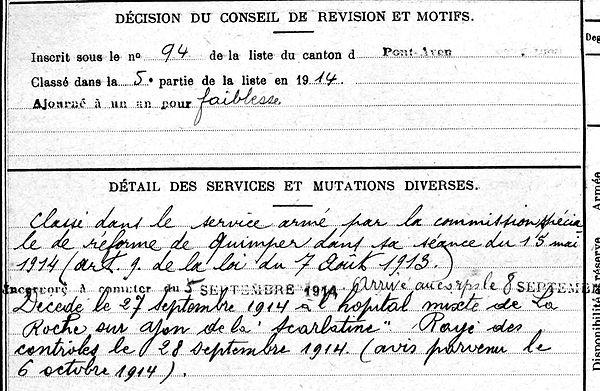 herlédan yves bannalec roche yon 14-18 Finistère Non Mort France Réformé maladie tuberculose suicide fusillé accident