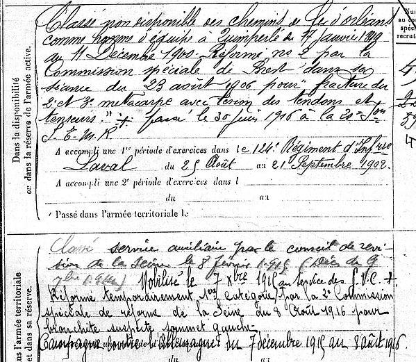 maurice pierre yves bannalec arcachon 14-18 Finistère Non Mort France Réformé maladie tuberculose suicide fusillé accident