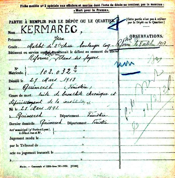 Kermarec jean quimerch 14-18 Finistère Non Mort France Réformé maladie tuberculose suicide fusillé accident