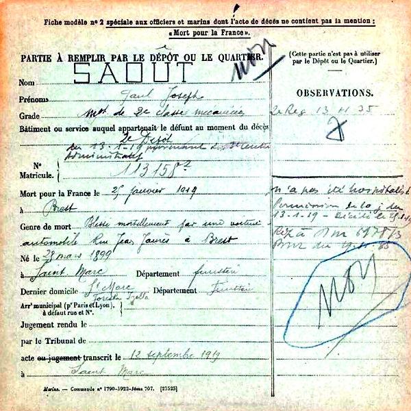saout paul joseph brest saint marc 14-18 Finistère Non Mort France Réformé maladie tuberculose suicide fusillé accident
