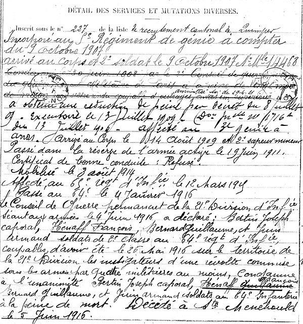 henaff françois marie kerfeunteun sainte menehould 14-18 Finistère Non Mort France Réformé maladie tuberculose suicide fusillé accident