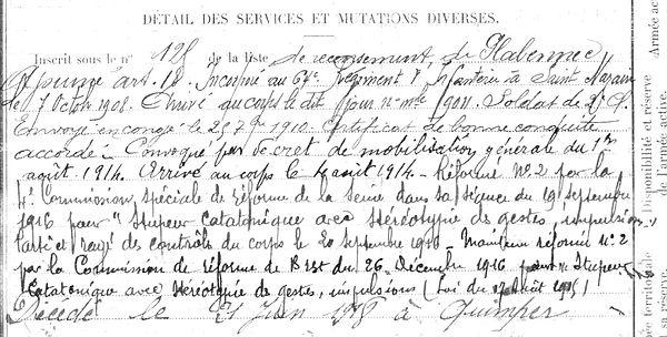 rouzic claude plouvien quimper 14-18 Finistère Non Mort France Réformé maladie tuberculose suicide fusillé accident