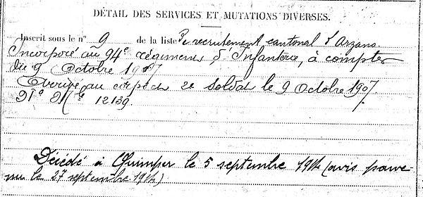 le doussal jean louis arzano quimper 14-18 Finistère Non Mort France Réformé maladie tuberculose suicide fusillé accident