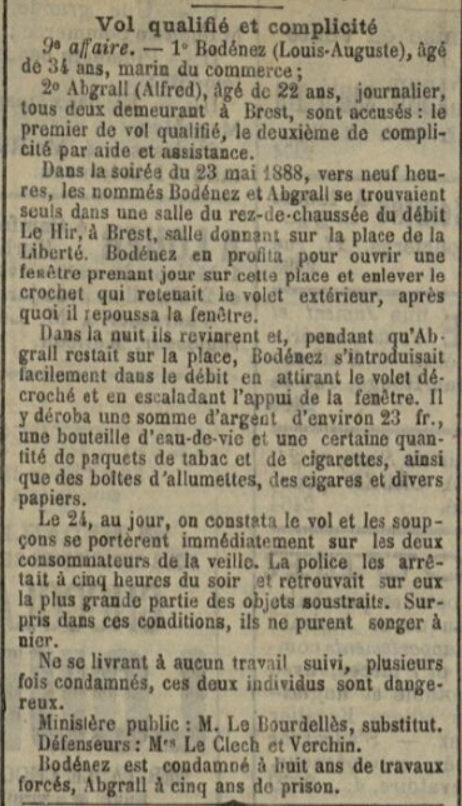 Bodenez Louis Auguste brest evade bagne guyane finistere bagnard