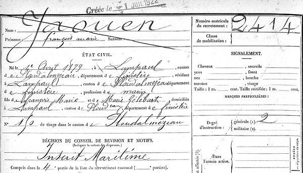 Jaouen François Marie Lampaul ploudalmezeau patrick milan anne appriou guerre 1914 1917 14 18 patrimoine histoire plouguin finistere