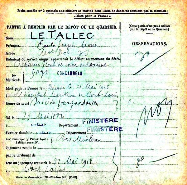 le tallec emile joseph marie moelan lorient port louis 14-18 Finistère Non Mort France Réformé maladie tuberculose suicide fusillé accident