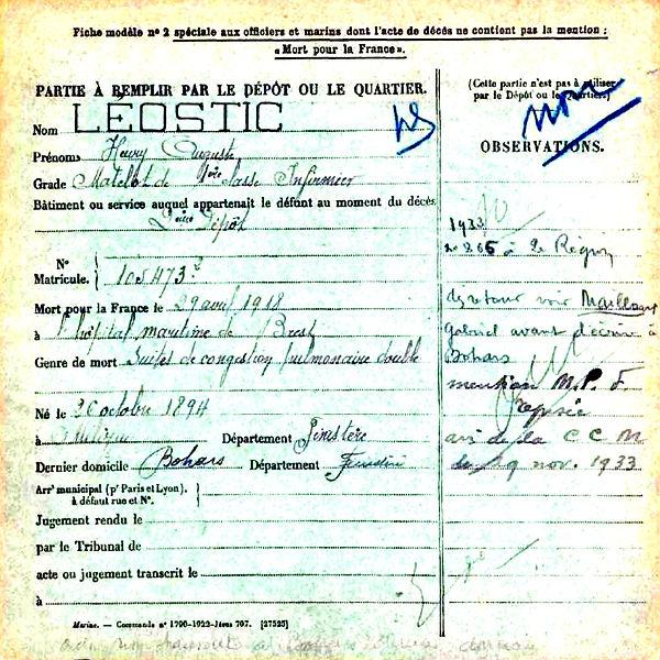 leostic henri auguste milizac brest 14-18 Finistère Non Mort France Réformé maladie tuberculose suicide fusillé accident