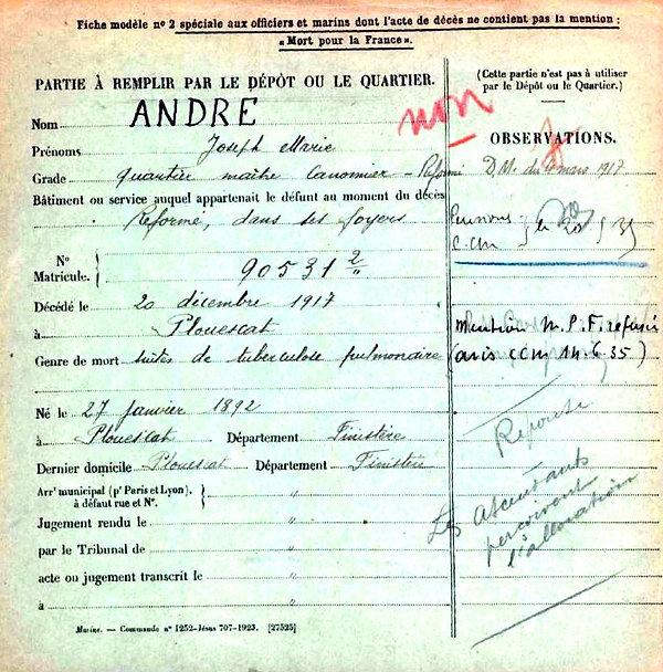 André Joseph Marie Plouescat Brest Guerre 14-18 Finistère Non Mort France Réformé maladie tuberculose suicide fusillé accident