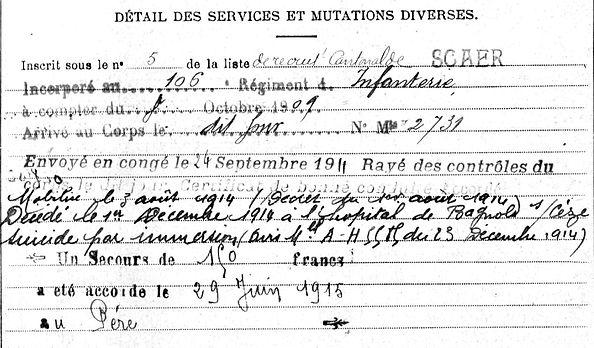 daeron pierre jacques marie scaer bagnols ceze 14-18 Finistère Non Mort France Réformé maladie tuberculose suicide fusillé accident
