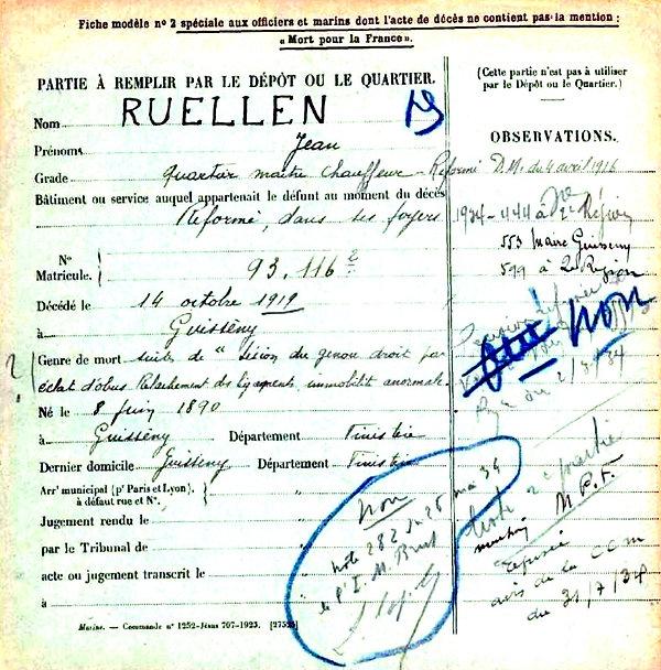ruellen jean guisseny 14-18 Finistère Non Mort France Réformé maladie tuberculose suicide fusillé accident
