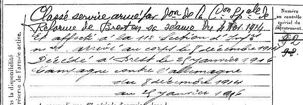 pailler guillaume yves marie landunvez brest 14-18 Finistère Non Mort France Réformé maladie tuberculose suicide fusillé accident