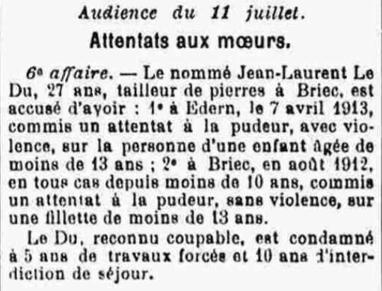 Le Du Jean Laurent edern briec viol bagne guyane bagnard floch