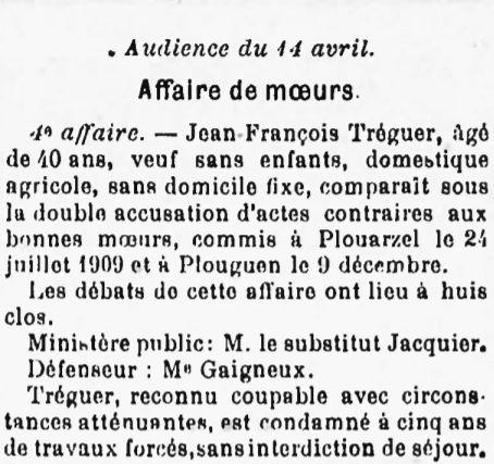 Tréguer Jean François landeda lannilis plouguin plouarzel hamon bagne guyan bagnard