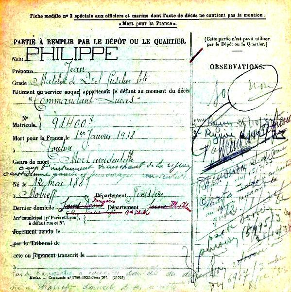 philippe jean commandant lus torpilleur toulon 14-18 Finistère Non Mort France Réformé maladie tuberculose suicide fusillé accident