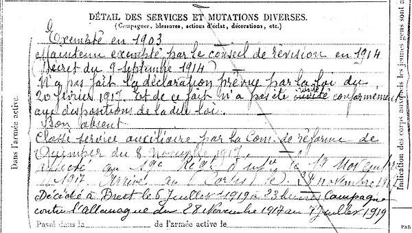 le du yves joseph ledu edern brest 14-18 Finistère Non Mort France Réformé maladie tuberculose suicide fusillé accident