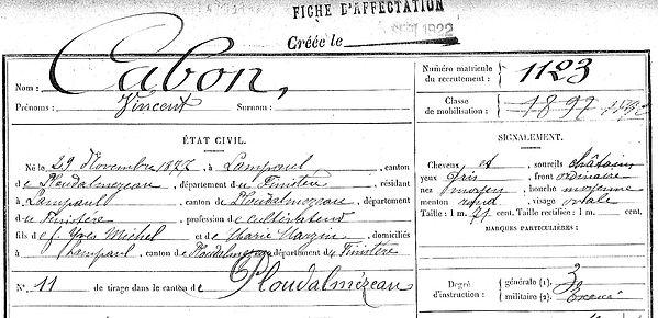 Cabon Vincent Lampaul ploudalmezeau patrick milan anne apprioual guerre 1914 1917 14 18 patrimoine histoire plouguin finistere saint pabu