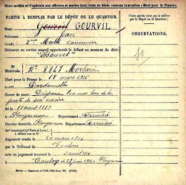 gourvil jean plougasnou dardanelles cuirassé bouvet 14-18 Finistère Non Mort France Réformé maladie tuberculose suicide fusillé accident