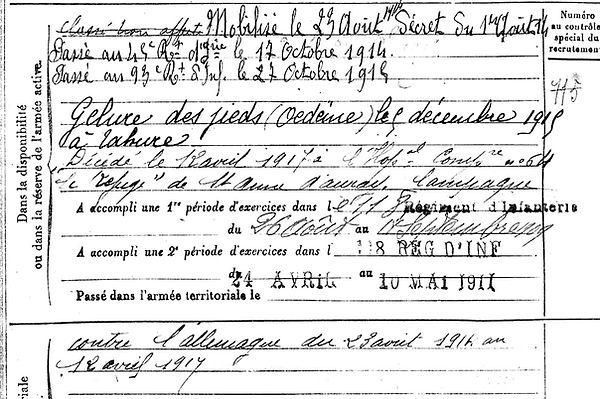 lucas bernard marie tahure sainte anne d'auray 14-18 Finistère Non Mort France Réformé maladie tuberculose suicide fusillé accident