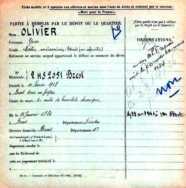 olivier yves brest 14-18 Finistère Non Mort France Réformé maladie tuberculose suicide fusillé accident