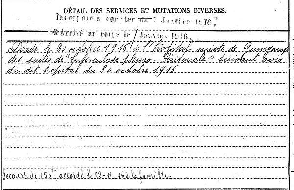 lelgouarch guillaume corentin penmarch guingamp 14-18 Finistère Non Mort France Réformé maladie tuberculose suicide fusillé accident