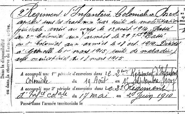 mingam guillaume marie pleyber christ grenoble 14-18 Finistère Non Mort France Réformé maladie tuberculose suicide fusillé accident