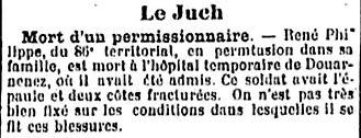 philippe rene ploare algerie douarnenez le juch 14-18 Finistère Non Mort France Réformé maladie tuberculose suicide fusillé accident