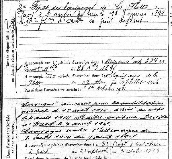 hilly leon pierre oleron discipline brest 14-18 Finistère Non Mort France Réformé maladie tuberculose suicide fusillé accident