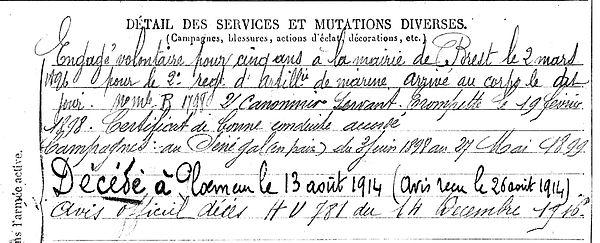 pothuon olivier ollivier marie pleyben ploemeur 14-18 Finistère Non Mort France Réformé maladie tuberculose suicide fusillé accident